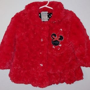 Minnie Mouse fuzzy red jacket, 24 months